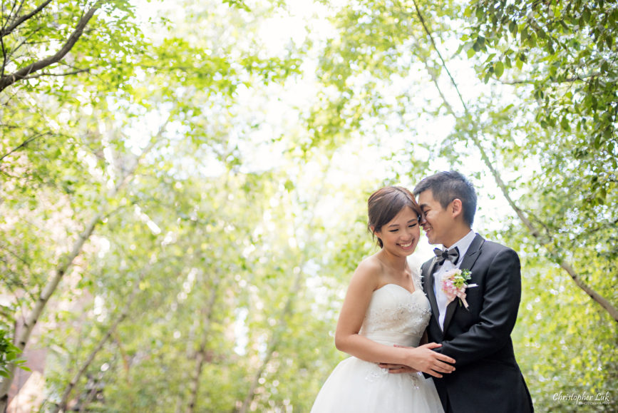 Christopher Luk (Toronto Wedding, Portrait and Event Photographer): Alison and Kenneth's Pre-Wedding Session at The University of Toronto St George Campus Downtown Creative Relaxed Natural Candid Photojournalistic Documentary Lifestyle Bride and Groom Tree Canopy Hug Smile