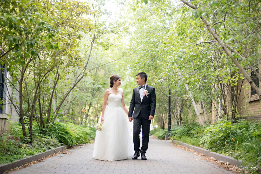 Christopher Luk (Toronto Wedding, Portrait and Event Photographer): Alison and Kenneth's Pre-Wedding Session at The University of Toronto St George Campus Downtown Creative Relaxed Natural Candid Photojournalistic Documentary Lifestyle Bride and Groom Tree Walkway Path Walking Smile Wide
