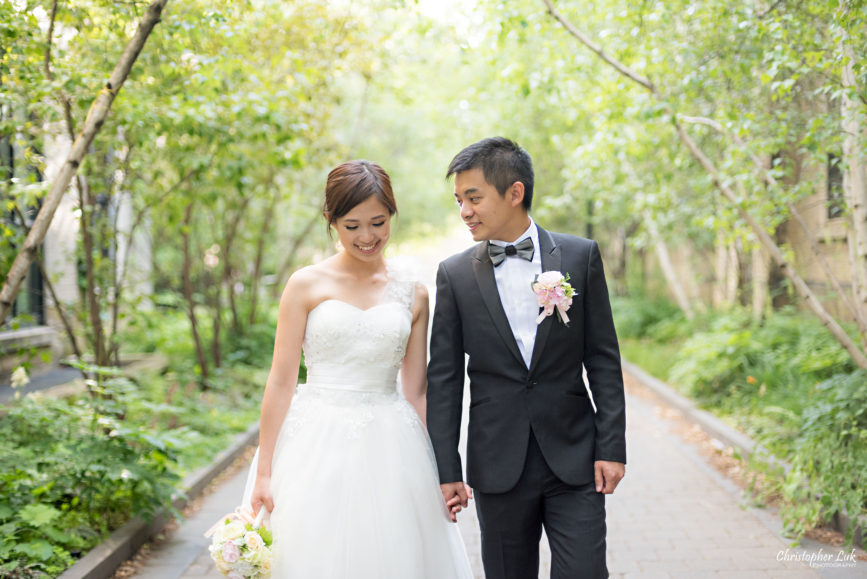 Christopher Luk (Toronto Wedding, Portrait and Event Photographer): Alison and Kenneth's Pre-Wedding Session at The University of Toronto St George Campus Downtown Creative Relaxed Natural Candid Photojournalistic Documentary Lifestyle Bride and Groom Tree Walkway Path Walking Smile