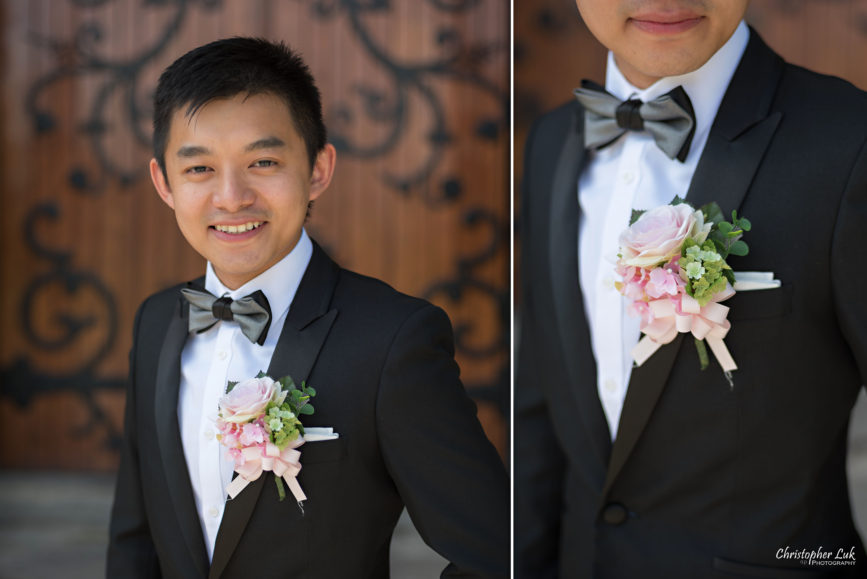 Christopher Luk (Toronto Wedding, Portrait and Event Photographer): Alison and Kenneth's Pre-Wedding Session at The University of Toronto St George Campus Downtown Creative Relaxed Natural Candid Photojournalistic Documentary Lifestyle Groom Boutonniere Floral Detail