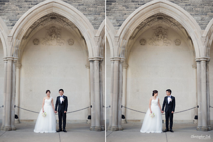 Christopher Luk (Toronto Wedding, Portrait and Event Photographer): Alison and Kenneth's Pre-Wedding Session at The University of Toronto St George Campus Downtown Creative Relaxed Natural Candid Photojournalistic Documentary Lifestyle Bride and Groom Stone Engraved Memorial Tower Arch Archway Smile