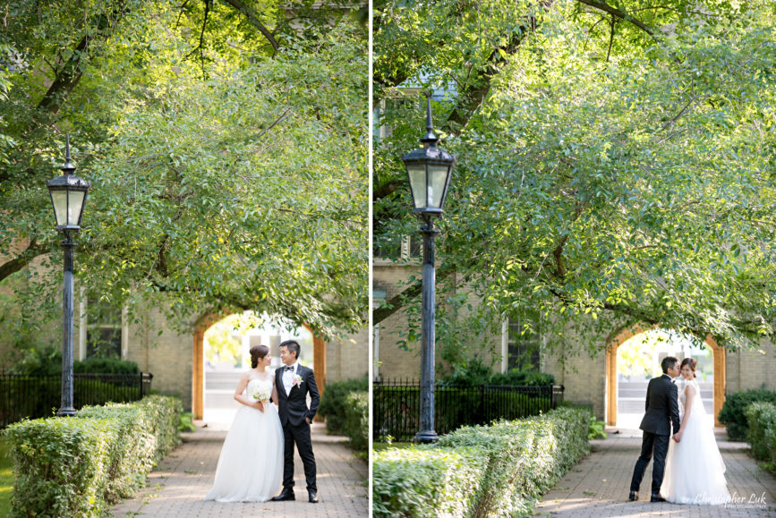 Christopher Luk (Toronto Wedding, Portrait and Event Photographer): Alison and Kenneth's Pre-Wedding Session at The University of Toronto St George Campus Downtown Creative Relaxed Natural Candid Photojournalistic Documentary Lifestyle Bride and Groom Hug Smile Golden Path Archway Arch Tree Lamp Post
