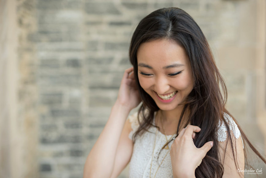 Christopher Luk (Toronto Wedding, Lifestyle & Event Photographer): Cindy and Matthew's University of Toronto Downtown Engagement Session - Bride Natural Candid Photojournalistic Portrait Headshot Smile