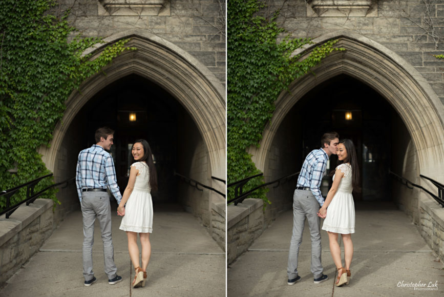 Christopher Luk (Toronto Wedding, Lifestyle & Event Photographer): Cindy and Matthew's University of Toronto Downtown Engagement Session - Bride Groom Natural Candid Photojournalistic Hart House Arch Archway Walkway