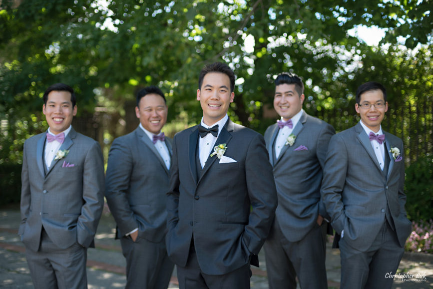 Christopher Luk (Toronto Wedding Photographer): Christine and Jonathan's Wedding - Graydon Hall Manor Toronto Foodie Summer Outdoor Garden Ceremony Patio Terrace Tent Dinner Reception Groom Groomsmen Grey Suit Purple BowTie Black Tuxedo Bow Tie Group Boutonniere Happy Smile
