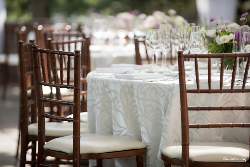 Christopher Luk (Toronto Wedding Photographer): Christine and Jonathan's Wedding - Graydon Hall Manor Toronto Foodie Summer Outdoor Garden Ceremony Patio Terrace Tent Dinner Reception Table Cloth White Cream Paisley Linen Chiavari Chairs