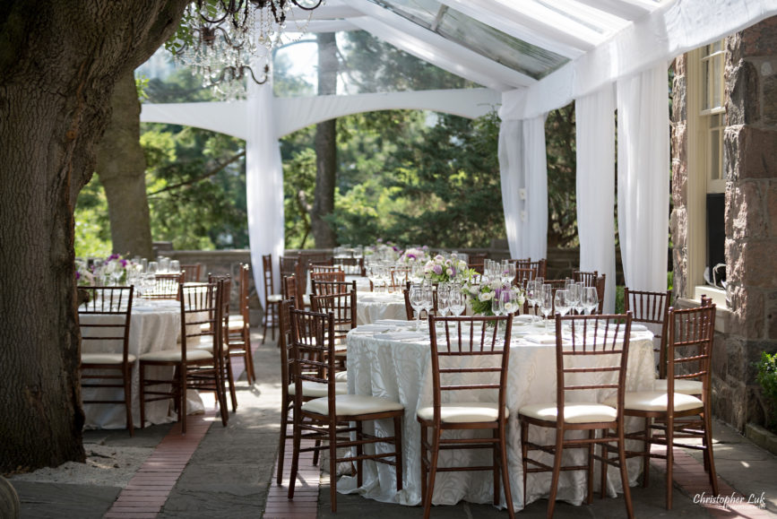 Christopher Luk (Toronto Wedding Photographer): Christine and Jonathan's Wedding - Graydon Hall Manor Toronto Foodie Summer Outdoor Garden Ceremony Patio Terrace Tent Dinner Reception Table Cloth White Cream Paisley Linen Chiavari Chairs Wide Trees