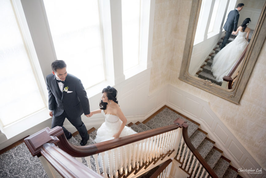 Christopher Luk (Toronto Wedding Photographer): Christine and Jonathan's Wedding - Graydon Hall Manor Toronto Foodie Summer Outdoor Garden Ceremony Patio Terrace Tent Dinner Reception Natural Candid Photojournalistic Bride Groom Walking Up Interior Grand Staircase Smile Happy Mirror