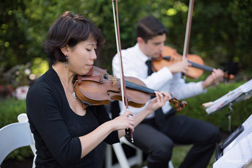 Christopher Luk (Toronto Wedding Photographer): Christine and Jonathan's Wedding - Graydon Hall Manor Toronto Foodie Summer Outdoor Garden Ceremony Patio Terrace Tent Dinner Reception - Violin Viola Cello Musical Chamber String Quartet Ensemble
