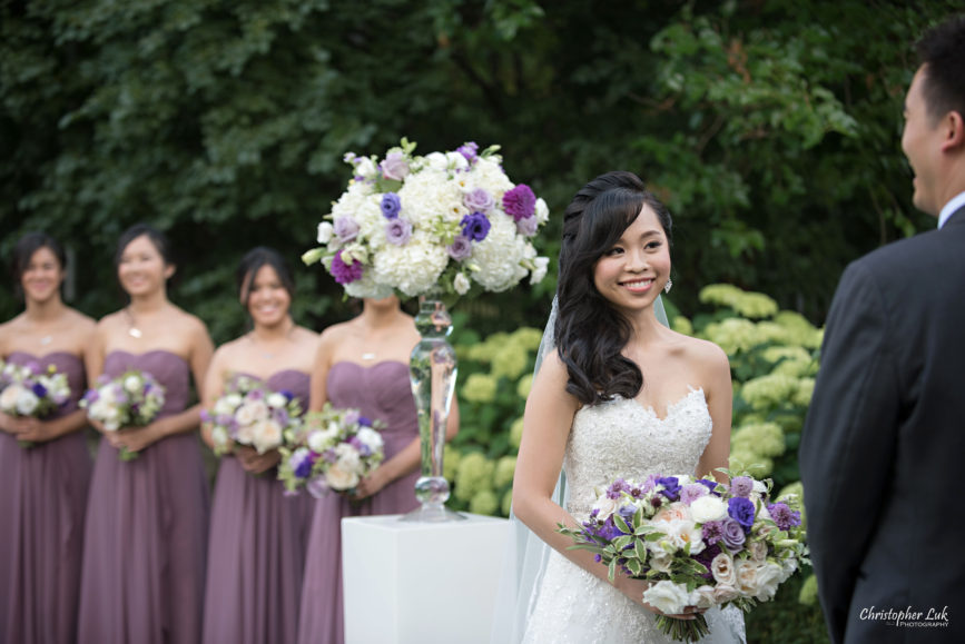 Christopher Luk (Toronto Wedding Photographer): Christine and Jonathan's Wedding - Graydon Hall Manor Toronto Foodie Summer Outdoor Garden Ceremony Patio Terrace Tent Dinner Reception Bride Groom Candid Natural Photojournalistic Bridesmaids Floral Vase Decor Vows