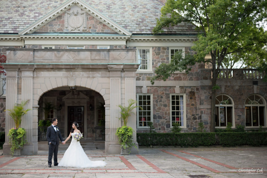 Christopher Luk (Toronto Wedding Photographer): Christine and Jonathan's Wedding - Graydon Hall Manor Toronto Foodie Summer Outdoor Garden Ceremony Patio Terrace Tent Dinner Reception Evening Mansion Estate Front Exterior Bride Groom Portrait Holding Hands Facade