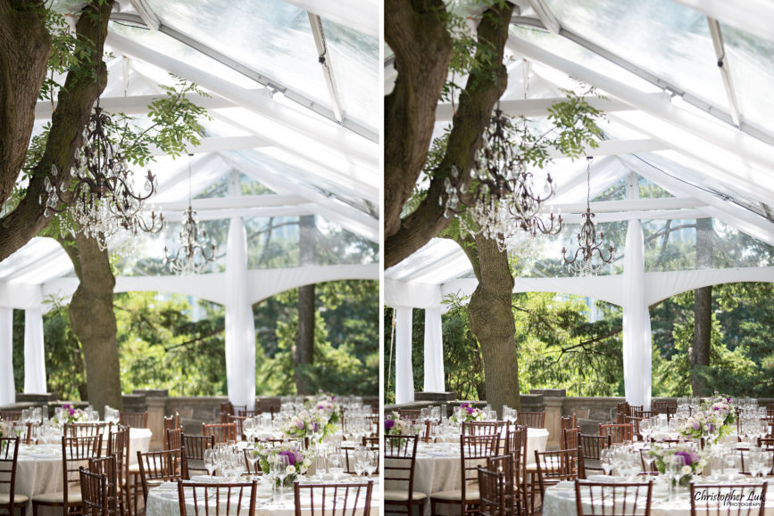 Christopher Luk (Toronto Wedding Photographer): Christine and Jonathan's Wedding - Graydon Hall Manor Toronto Foodie Summer Outdoor Garden Ceremony Patio Terrace Tent Dinner Reception Table Cloth White Cream Paisley Linen Chiavari Chairs Trees Glass Crystal Lamp Light Chandeliers