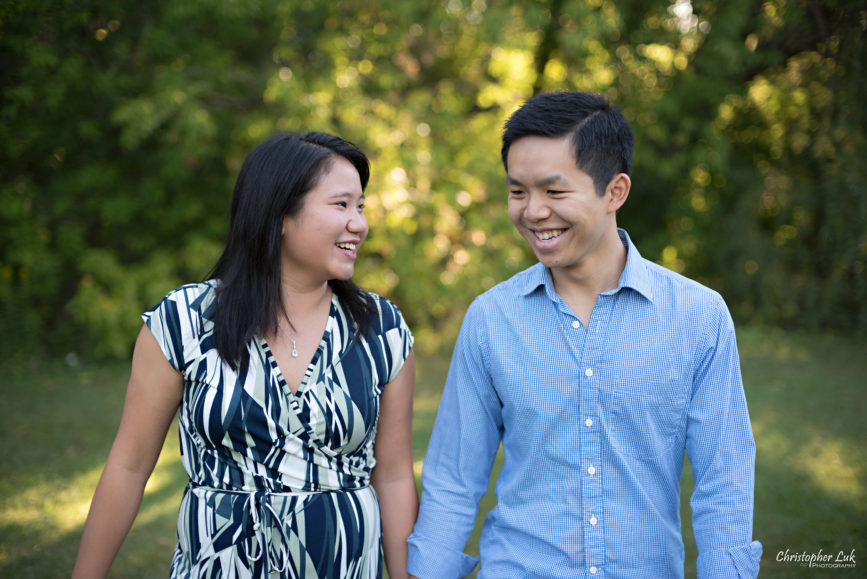 Christopher Luk (Toronto Wedding Engagement Session Photographer): Main Street Unionville TooGood Pond Markham - Bride Groom Candid Natural Photojournalistic Walking Park Smiling