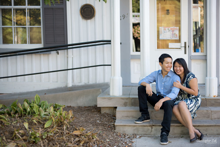 Christopher Luk (Toronto Wedding Engagement Session Photographer): Main Street Unionville TooGood Pond Markham - Bride Groom Candid Natural Photojournalistic Art Gallery Sit Stairs Staircase Steps Laugh