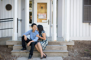 Christopher Luk (Toronto Wedding Engagement Session Photographer): Main Street Unionville TooGood Pond Markham - Bride Groom Candid Natural Photojournalistic Art Gallery Sit Stairs Staircase Steps Laugh Smile Whisper