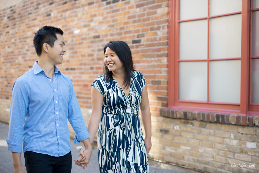 Christopher Luk (Toronto Wedding Engagement Session Photographer): Main Street Unionville TooGood Pond Markham - Bride Groom Natural Candid Photojournalistic Fire Hall Confectionery Red Wood Window Brick Alley Walking