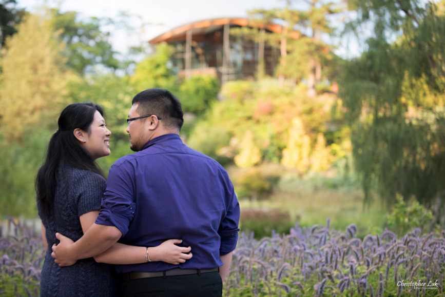 Christopher Luk (Toronto Wedding Engagement Session Photographer) - RBG Royal Botanical Gardens Bride Groom Natural Candid Photojournalistic Bridge Landscape Autumn Fall Leaves Orange Yellow Green Hug Back Smile