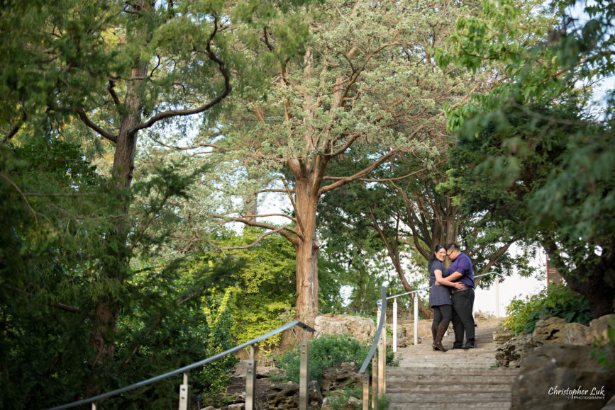 Christopher Luk (Toronto Wedding Engagement Session Photographer) - RBG Royal Botanical Gardens Bride Groom Natural Candid Photojournalistic Landscape Rock Steps Staircase Trees Canopy Leading Line Hug