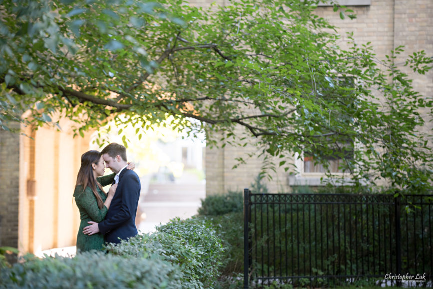 Christopher Luk (Toronto Wedding Photographer): University of Toronto College Doctor of Medicine Engagement Session Bride Groom Natural Candid Photojournalistic Hug Hold Snuggle Archway Old Tree Leaves Leading Line