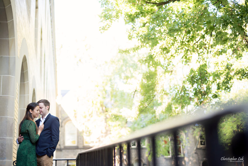 Christopher Luk (Toronto Wedding Photographer): University of Toronto College Doctor of Medicine Engagement Session Bride Groom Natural Candid Photojournalistic Archway Quad Hug Hold Close Leading Line