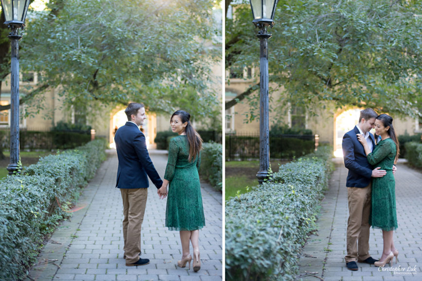 Christopher Luk (Toronto Wedding Photographer): University of Toronto College Doctor of Medicine Engagement Session Bride Natural Candid Photojournalistic Archway Walkway Shrubs Old Trees Lamp Post
