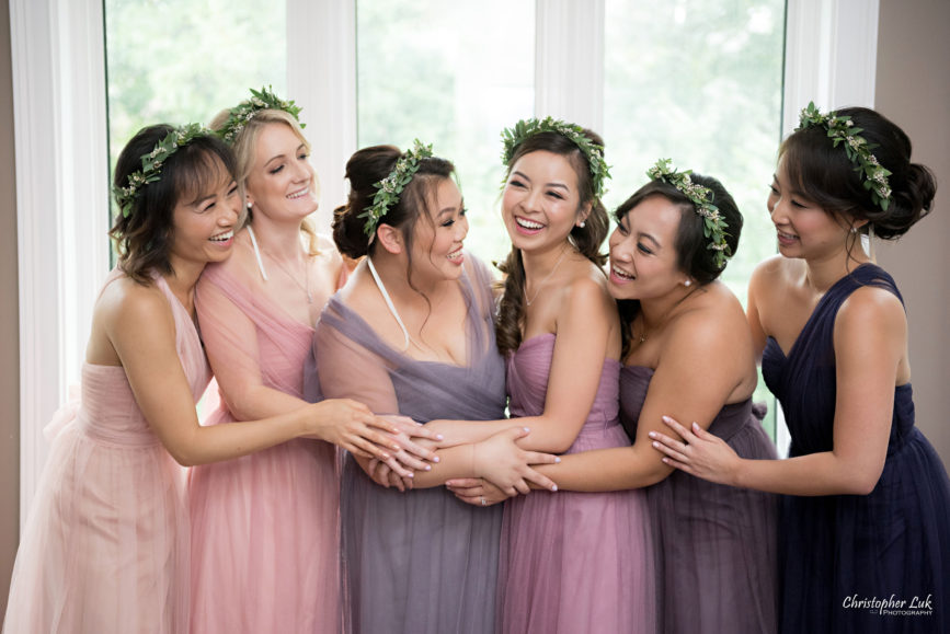 Christopher Luk (Toronto Wedding Photographer): Berkeley Church Vintage Rustic Ceremony Candlelight Dinner Reception Pinterest Worthy Details Bridesmaids Matching Different Colour Shade Tone Purple Pink Dresses Gowns Floral Wreath Crown Hug