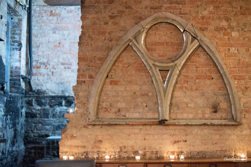 Christopher Luk (Toronto Wedding Photographer): Berkeley Church Vintage Rustic Ceremony Candlelight Dinner Reception Pinterest Worthy Details Cool Archway Arch Candles Display Feature Wall