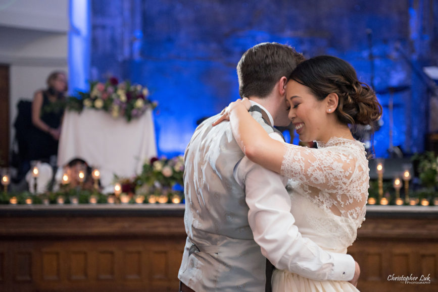 Christopher Luk (Toronto Wedding Photographer): Berkeley Church Vintage Rustic Ceremony Candlelight Dinner Reception Pinterest Worthy Details Candid Natural Photojournalistic First Dance Floor Bride Groom Dancing Hug Close Intimate