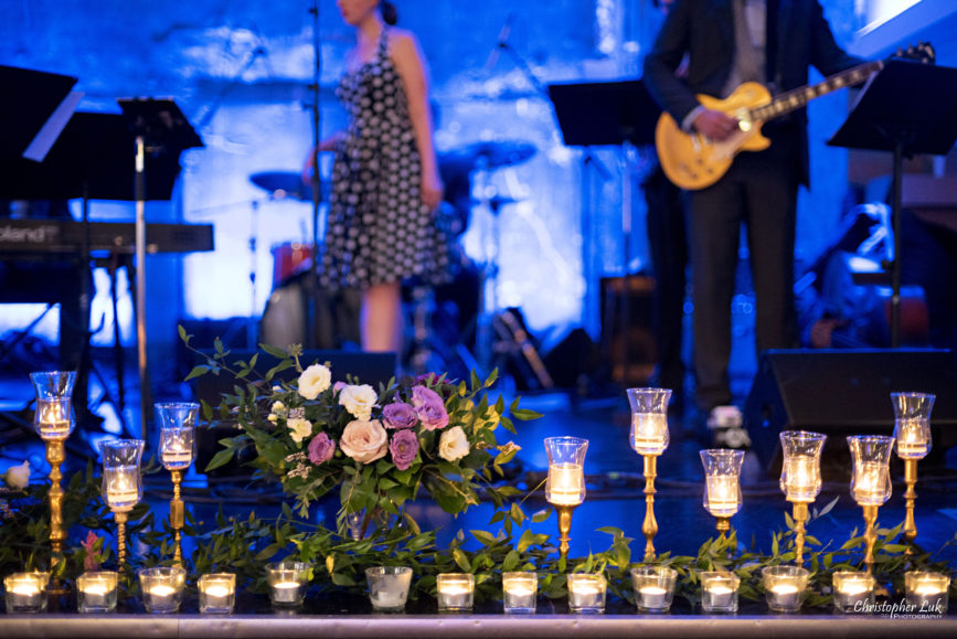 Christopher Luk (Toronto Wedding Photographer): Berkeley Church Vintage Rustic Ceremony Candlelight Dinner Reception Pinterest Worthy Details Candid Natural Photojournalistic Dance Floor Live Band Music Musicians Vocalist Lady Be Good Jazz Swing Top 40 Pop Candles Flowers Floral Candlelight Candlelit Stage