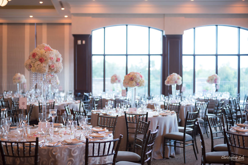Christopher Luk Toronto Wedding Portrait Lifestyle Event Photographer - Eagles Nest Golf Club Outdoor Ceremony Toronto Raptors Blue Jays Sports Fans Great Hall Dinner Reception Floral Centrepieces Table Linens Chiavari Chairs