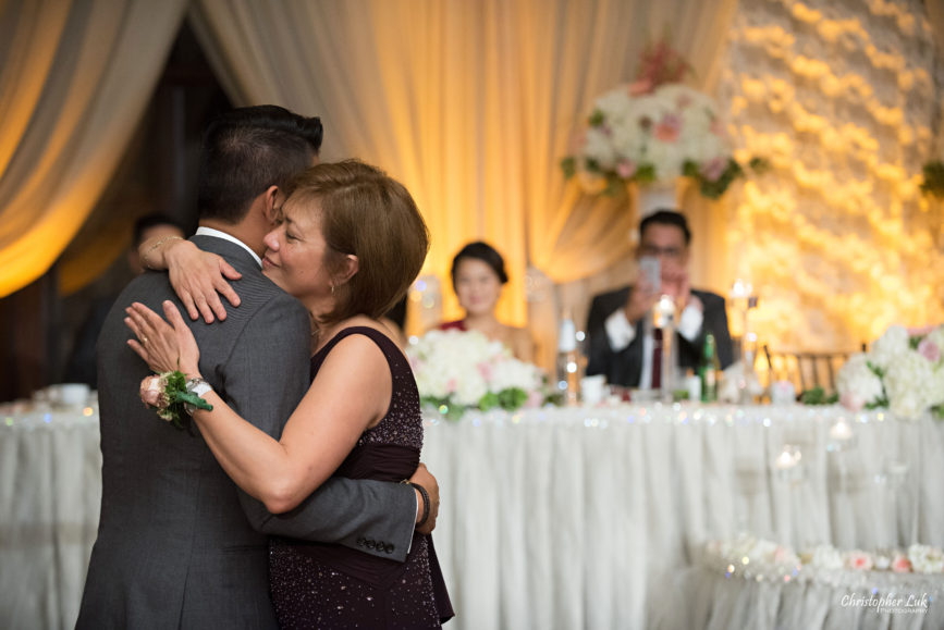 Christopher Luk Toronto Wedding Portrait Lifestyle Event Photographer - Eagles Nest Golf Club Outdoor Ceremony Toronto Raptors Blue Jays Sports Fans Natural Candid Photojournalistic Mother Son Groom Dance Emotional Hug