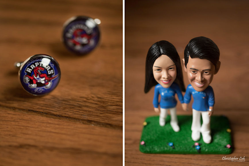 Christopher Luk Toronto Wedding Portrait Lifestyle Event Photographer - Eagles Nest Golf Club Outdoor Ceremony Toronto Raptors Blue Jays Sports Fans Initial Personalized Cufflinks Cuff Links Bride Groom Bobbleheads Marriage Bobblehead