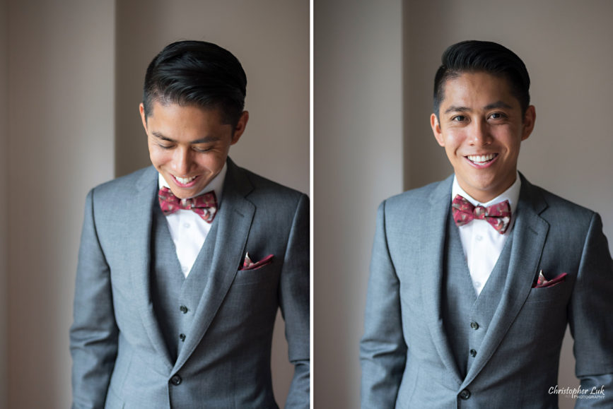 Christopher Luk Toronto Wedding Portrait Lifestyle Event Photographer - Eagles Nest Golf Club Outdoor Ceremony Toronto Raptors Blue Jays Sports Fans Natural Candid Photojournalistic Groom Custom Red Fabric Tytan Bow Tie JCrew J Crew Ludlow Grey Suit