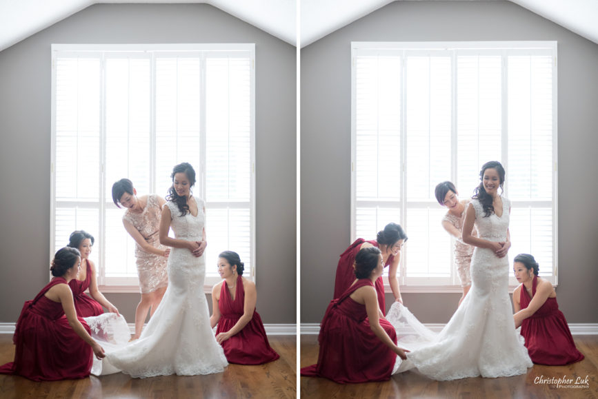 Christopher Luk Toronto Wedding Portrait Lifestyle Event Photographer - Eagles Nest Golf Club Outdoor Ceremony Toronto Raptors Blue Jays Sports Fans Natural Candid Photojournalistic Bride Bridesmaids Mother White Red Gown Dress Getting Ready