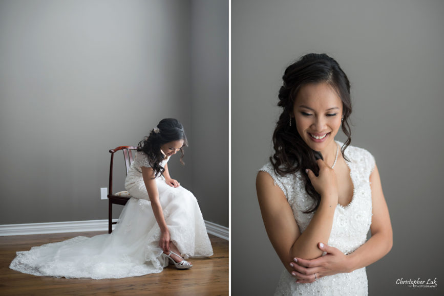 Christopher Luk Toronto Wedding Portrait Lifestyle Event Photographer - Eagles Nest Golf Club Outdoor Ceremony Toronto Raptors Blue Jays Sports Fans Natural Candid Photojournalistic Bride Portrait Shoes Getting Ready