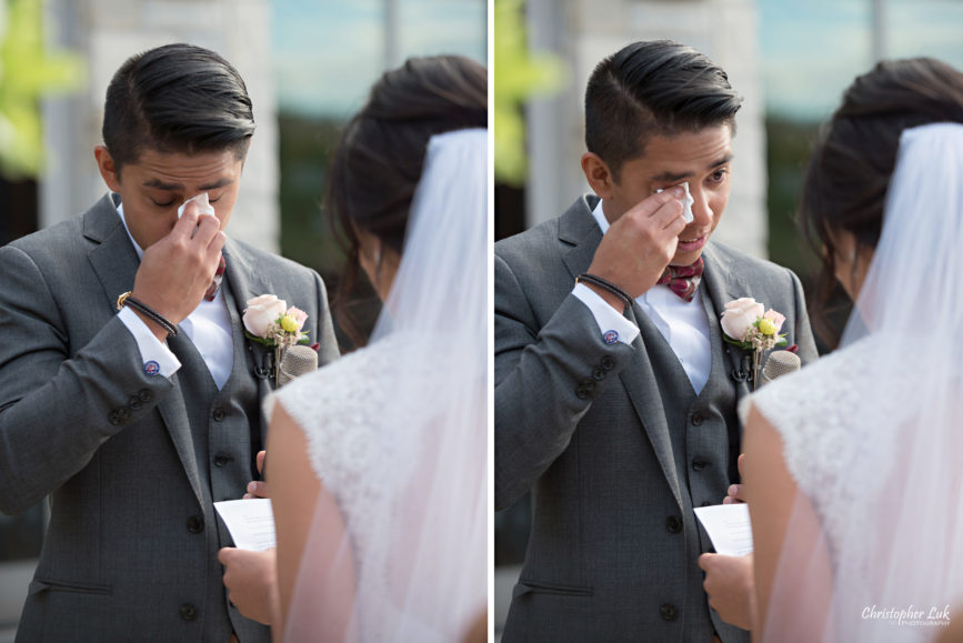 Christopher Luk Toronto Wedding Portrait Lifestyle Event Photographer - Eagles Nest Golf Club Outdoor Ceremony Toronto Raptors Blue Jays Sports Fans Natural Candid Photojournalistic Bride Groom Vows Tears of Joy Emotional Wipe