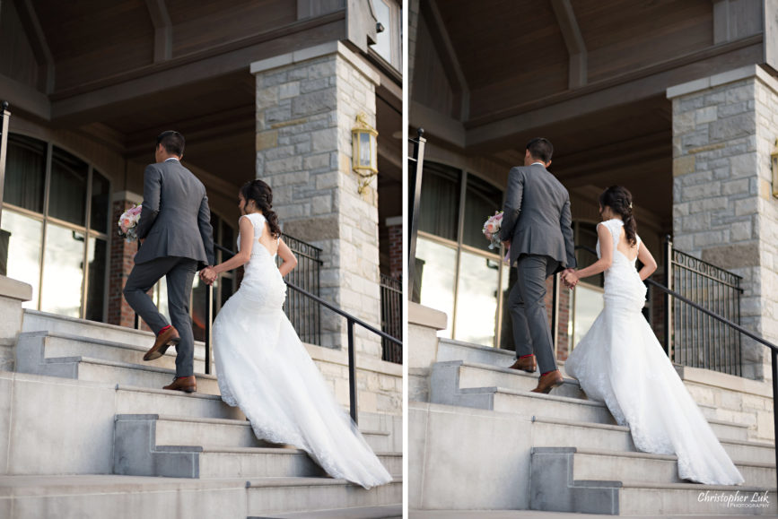 Christopher Luk Toronto Wedding Portrait Lifestyle Event Photographer - Eagles Nest Golf Club Outdoor Ceremony Toronto Raptors Blue Jays Sports Fans Natural Candid Photojournalistic Bride Groom Walking Together Clubhouse Staircase Stairs