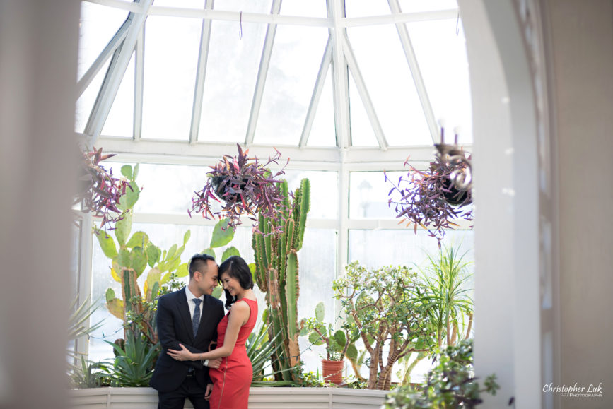 Christopher Luk (Toronto Wedding Photographer): Winter Indoor Engagement Session PreWedding Pictures Heintzman House Photos Markham York Region Natural Candid Photojournalistic Bride Groom Greenhouse Hug Hold Intimate Snuggle Close Warm