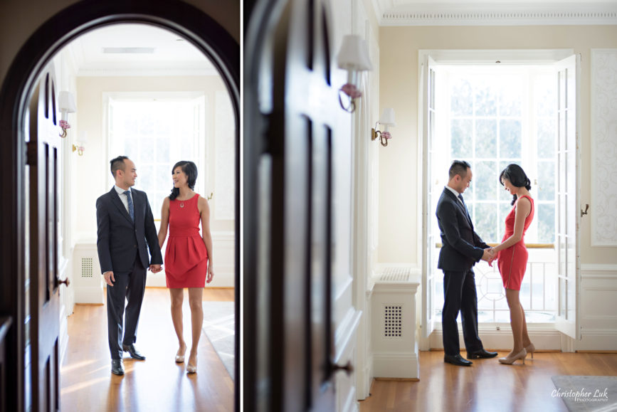 Christopher Luk (Toronto Wedding Photographer): Winter Indoor Engagement Session PreWedding Pictures Heintzman House Photos Markham York Region Natural Candid Photojournalistic Bride Groom Walking Holding Hands Intimate