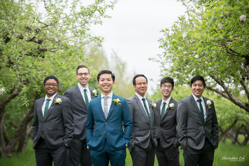 Christopher Luk: Toronto Wedding Photographer: Markham Museum Scarborough Chinese Baptist Church SCBC Columbus Event Centre Sala Caboto Natural Candid Photojournalistic Groom Groomsmen Creative Portrait Apple Orchard Trees Smile