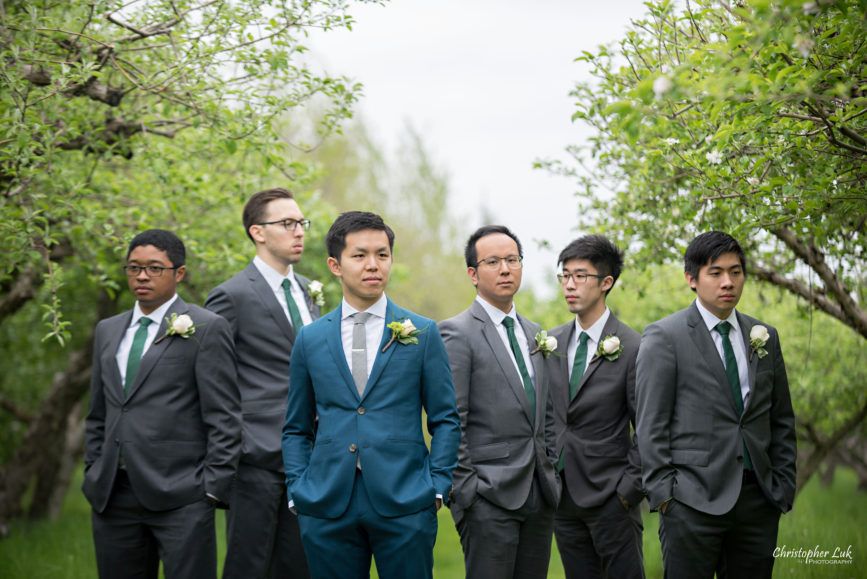 Christopher Luk: Toronto Wedding Photographer: Markham Museum Scarborough Chinese Baptist Church SCBC Columbus Event Centre Sala Caboto Natural Candid Photojournalistic Groom Groomsmen Creative Portrait Apple Orchard Trees Serious Boy Band Album Cover