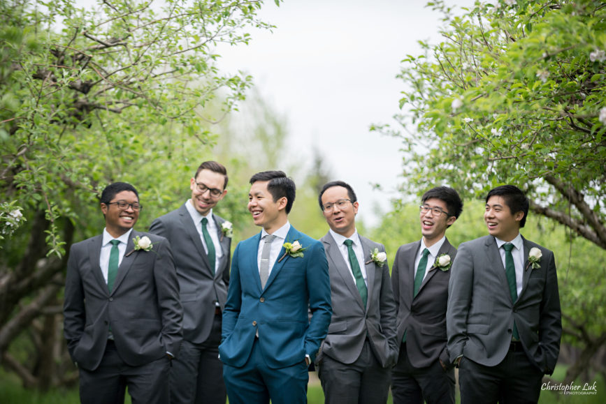 Christopher Luk: Toronto Wedding Photographer: Markham Museum Scarborough Chinese Baptist Church SCBC Columbus Event Centre Sala Caboto Natural Candid Photojournalistic Groom Groomsmen Creative Portrait Apple Orchard Trees Laugh