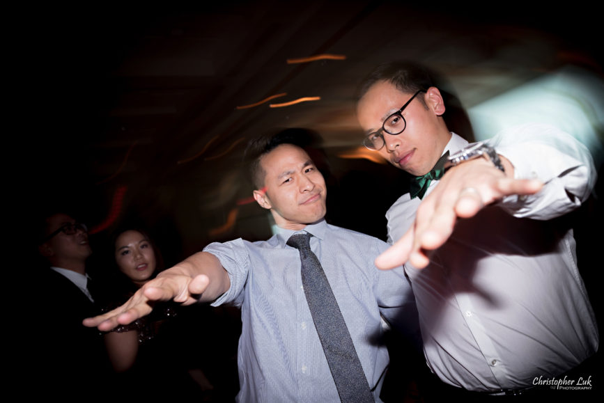 Christopher Luk: Toronto Wedding Photographer: Markham Museum Scarborough Chinese Baptist Church SCBC Columbus Event Centre Sala Caboto Natural Candid Photojournalistic Guests Family Friends Dancing Fun Hands Pointing