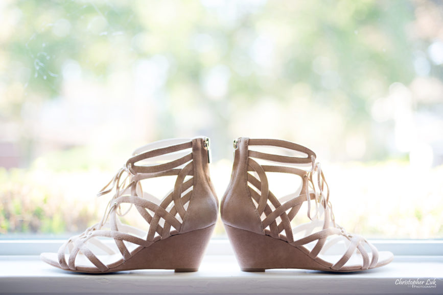 Christopher Luk Toronto Wedding Photographer - Bride Bridal Shoes Footwear Natural Suede Wedge Strap Sandals