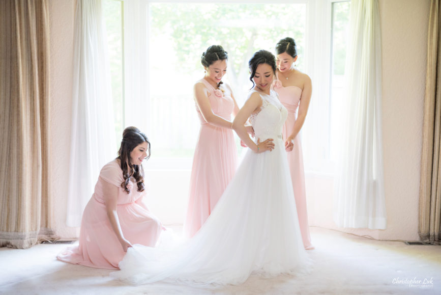 Christopher Luk Toronto Wedding Photographer - Bride Bridal White Dress Natural Candid Photojournalistic Satine Studio Hair Stylist and Makeup Artist Bridesmaids Pink Dresses Getting Ready