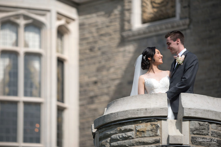 Christopher Luk Toronto Wedding Photographer - Casa Loma Conservatory Ceremony Creative Photo Session ByPeterAndPauls Paramount Event Venue Space Natural Candid Photojournalistic Bride Groom Castle Exterior Rear Garden Turret Tower Smiling Closer Detail