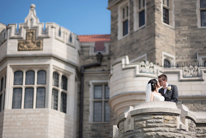 Christopher Luk Toronto Wedding Photographer - Casa Loma Conservatory Ceremony Creative Photo Session ByPeterAndPauls Paramount Event Venue Space Natural Candid Photojournalistic Bride Groom Castle Exterior Rear Garden Turret Tower Kiss Wide