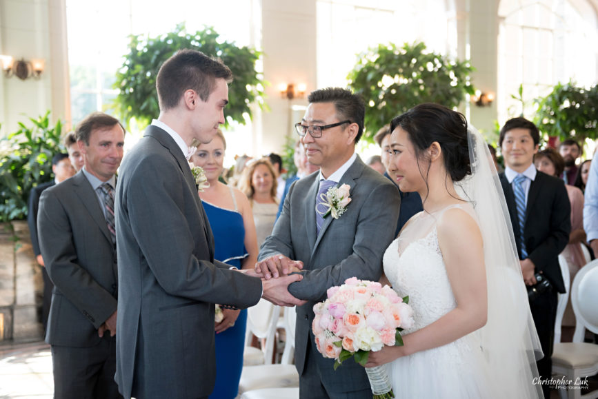 Christopher Luk Toronto Wedding Photographer - Casa Loma Conservatory Ceremony Creative Photo Session ByPeterAndPauls Paramount Event Venue Space Natural Candid Photojournalistic Castle Father of Bride Walking Down Centre Aisle Hand Off Groom