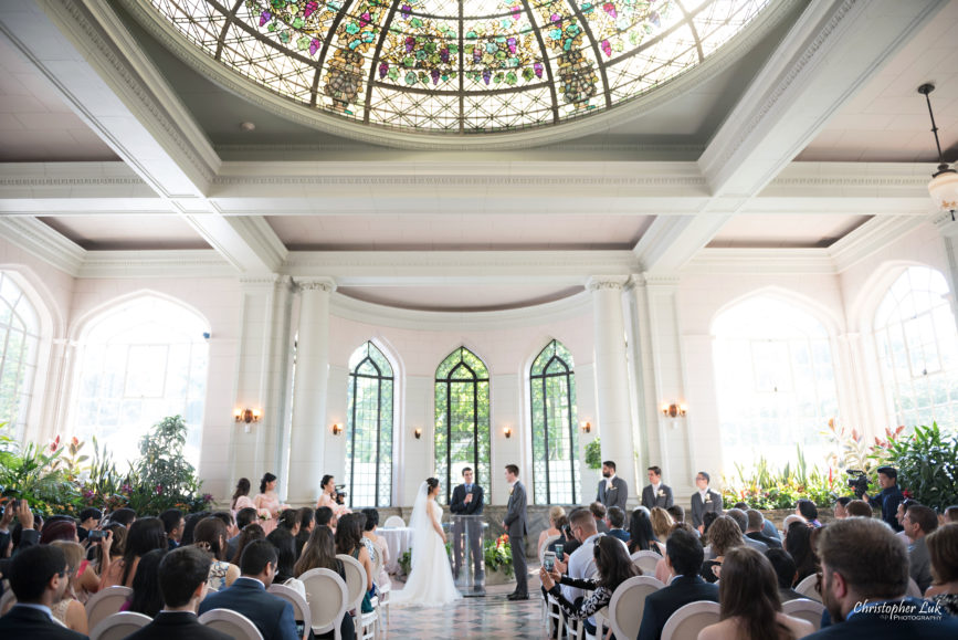 Christopher Luk Toronto Wedding Photographer - Casa Loma Conservatory Ceremony Creative Photo Session ByPeterAndPauls Paramount Event Venue Space Natural Candid Photojournalistic Castle Bride Groom Stained Glass Wide