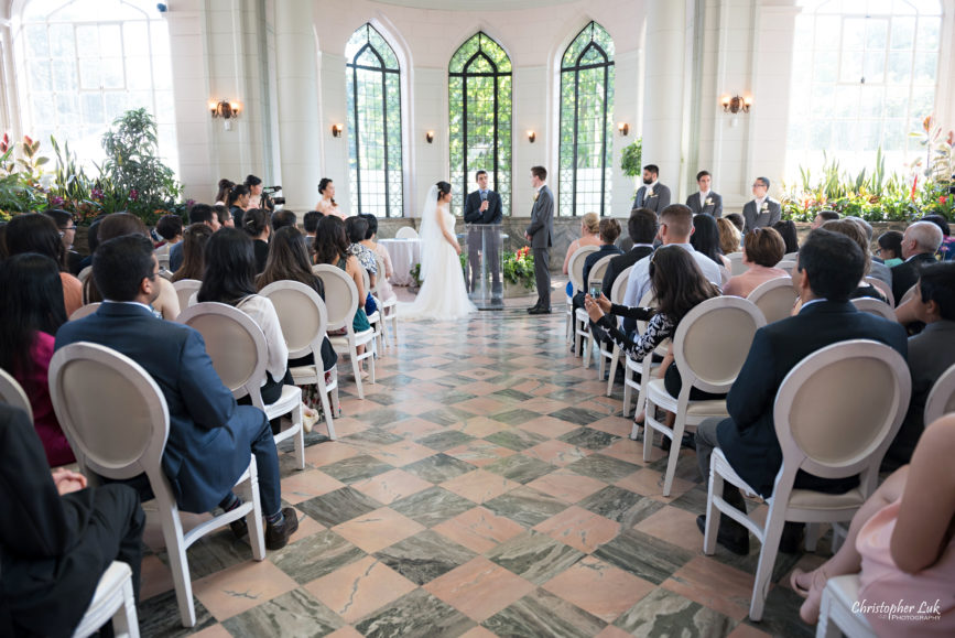 Christopher Luk Toronto Wedding Photographer - Casa Loma Conservatory Ceremony Creative Photo Session ByPeterAndPauls Paramount Event Venue Space Natural Candid Photojournalistic Castle Bride Groom Stained Glass Wide Guests